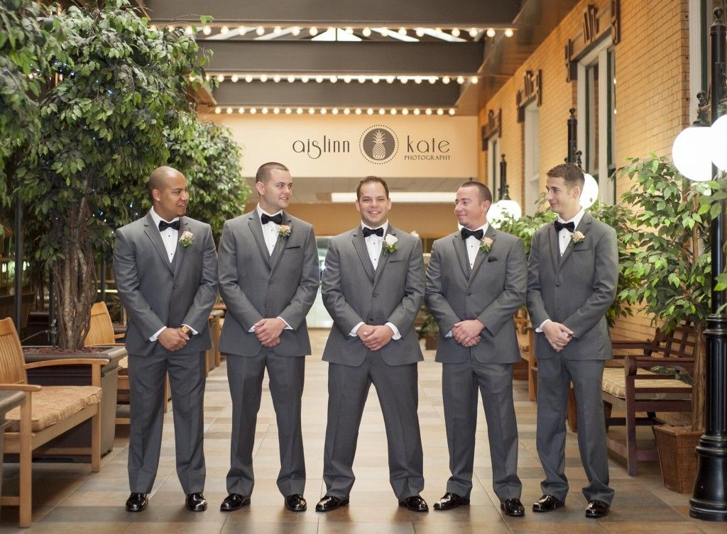 Gray suits  |  Gray groomsmen suites  |  Tuxedos  |  Mint wedding  |  City wedding  |  Aislinn Kate Photography | Wedding (Pensacola Wedding Photographer)