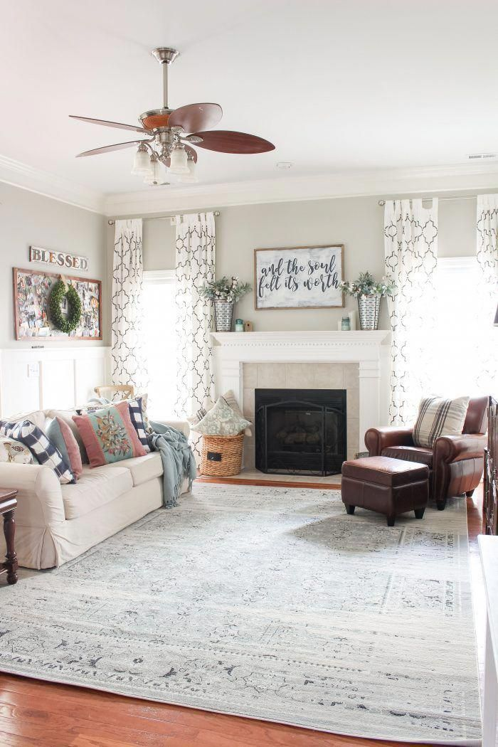 modern farmhouse living room distressed vintage inspired rug a rh pinterest com