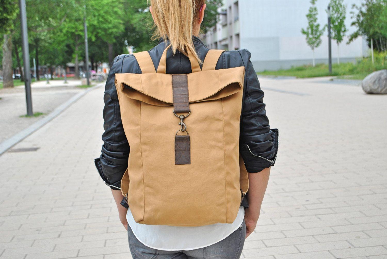 70c0d99829b27 Beige Canvas Rucksack wasserabweisend groß Laptop Tasche