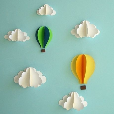 origami clouds baby 3d
