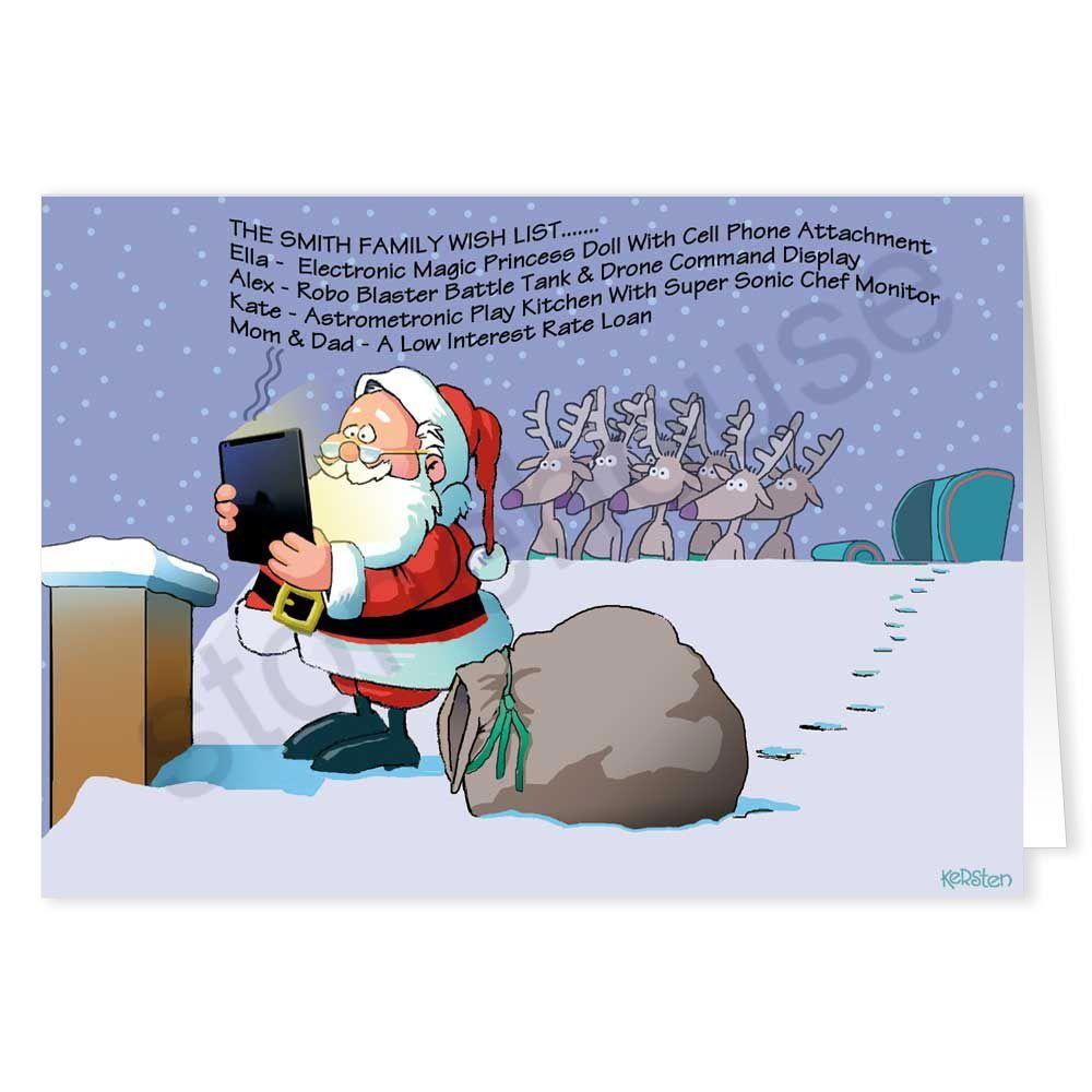 santa and his tablet computer funny card  computer humor