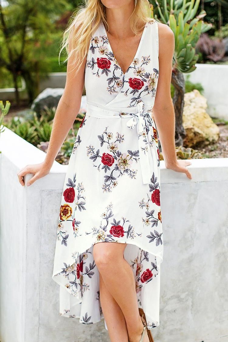 White Floral Sleeveless High Low Wrap Dress Cupshe Dress Dresses Floral Sleeveless [ 1125 x 750 Pixel ]