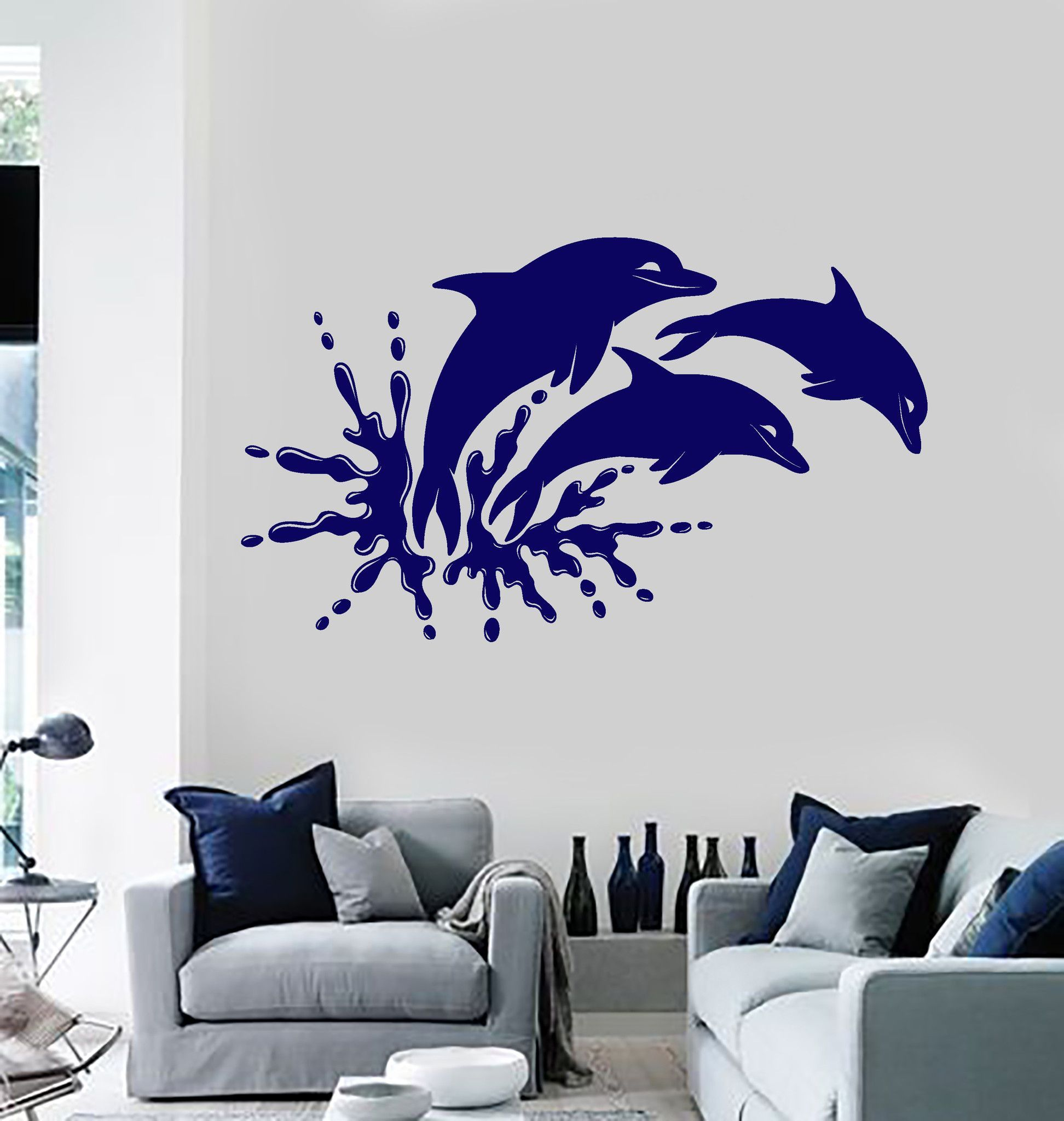 Vinyl wall decal dolphins marine animals ocean bathroom stickers vinyl wall decal dolphins marine animals ocean bathroom stickers ig4065 amipublicfo Image collections