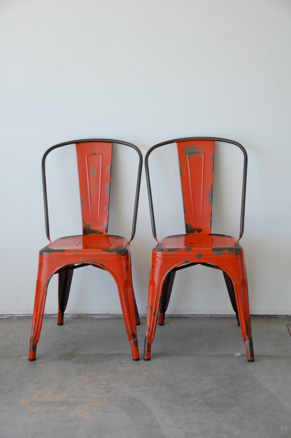 Custom Painted & Distressed Tolix Style High Back Side Chair Color of your Choice (248.00 USD) by sugarSCOUT