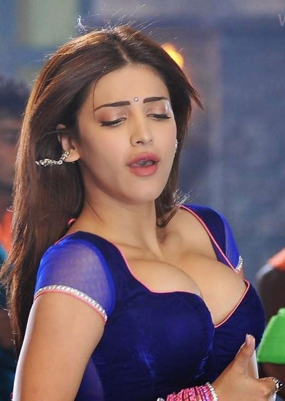 Shruti Haasan In Blue Blouse  South Indian Xxx-9510
