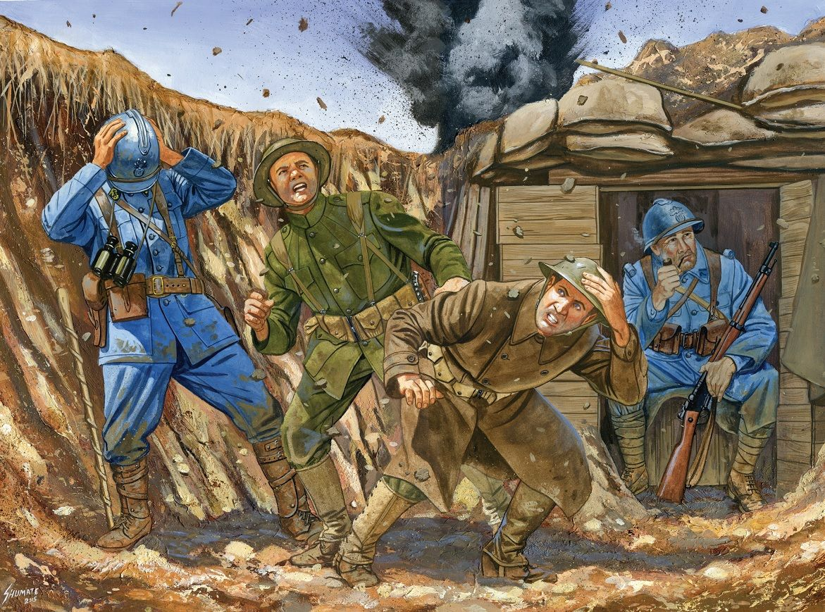 british and french iers under german bombardment in a trench us marine corps advanced trench warfare training johnny shumate