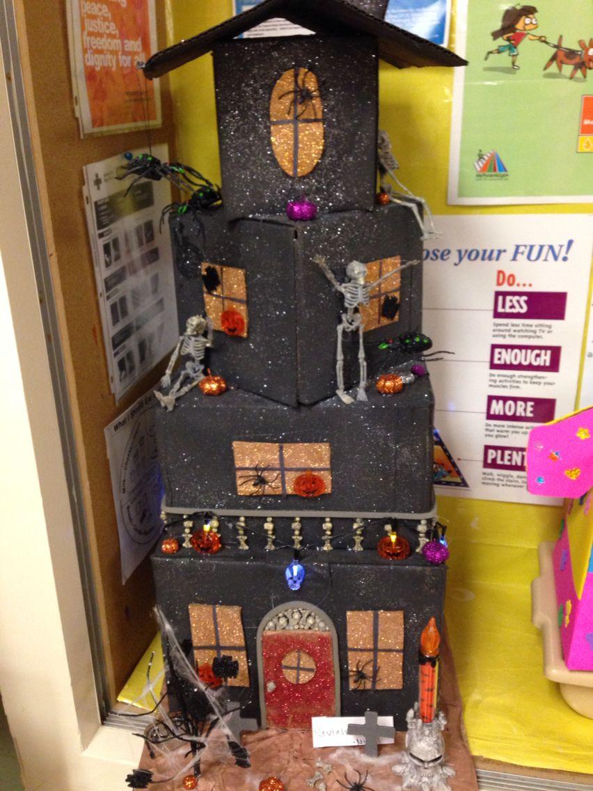 Cardboard box Haunted House. Halloween entertaining