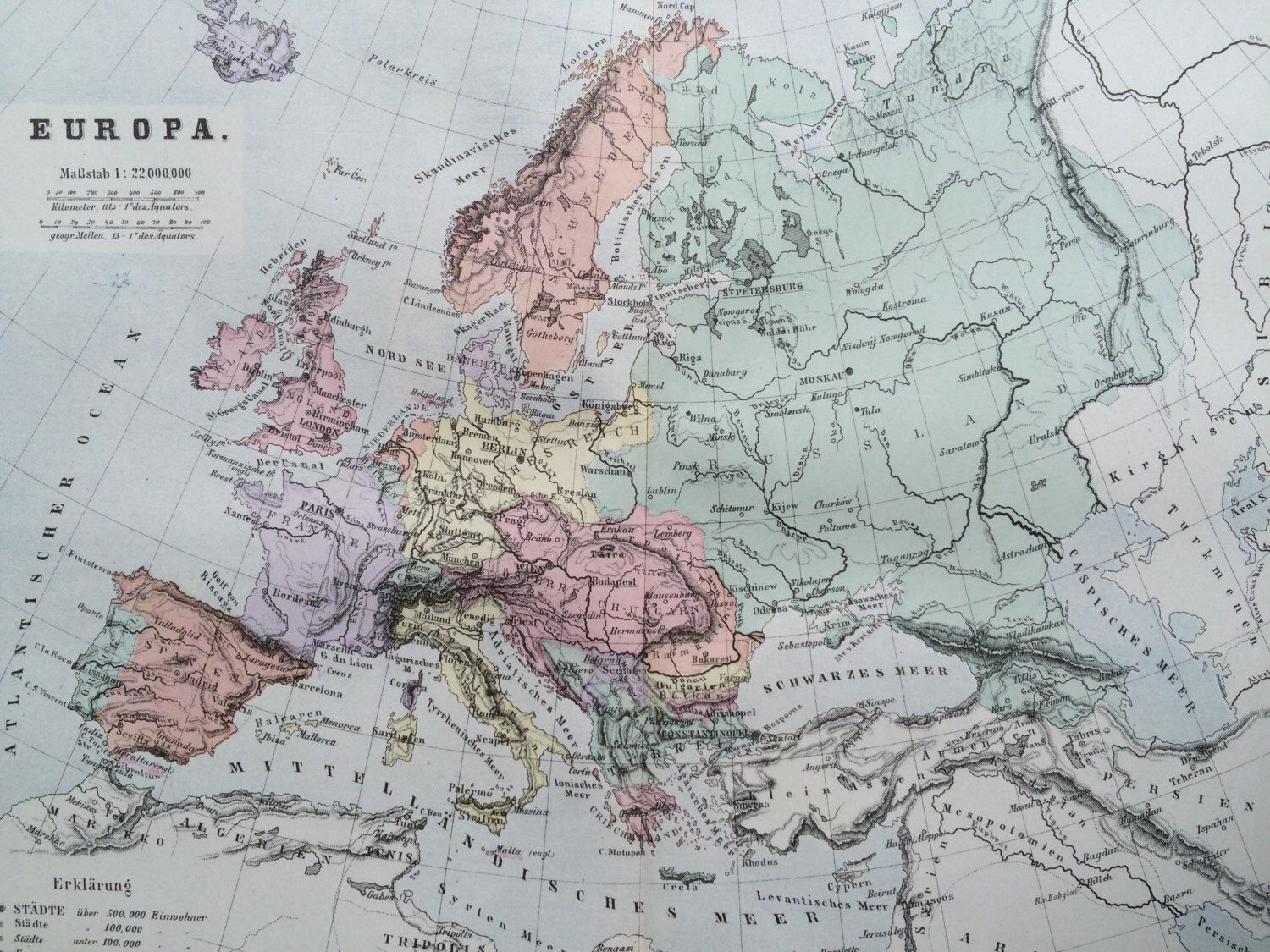 Map Showing Europe%0A      EUROPE Original Antique Map     x       inches  Home Decor   Cartography