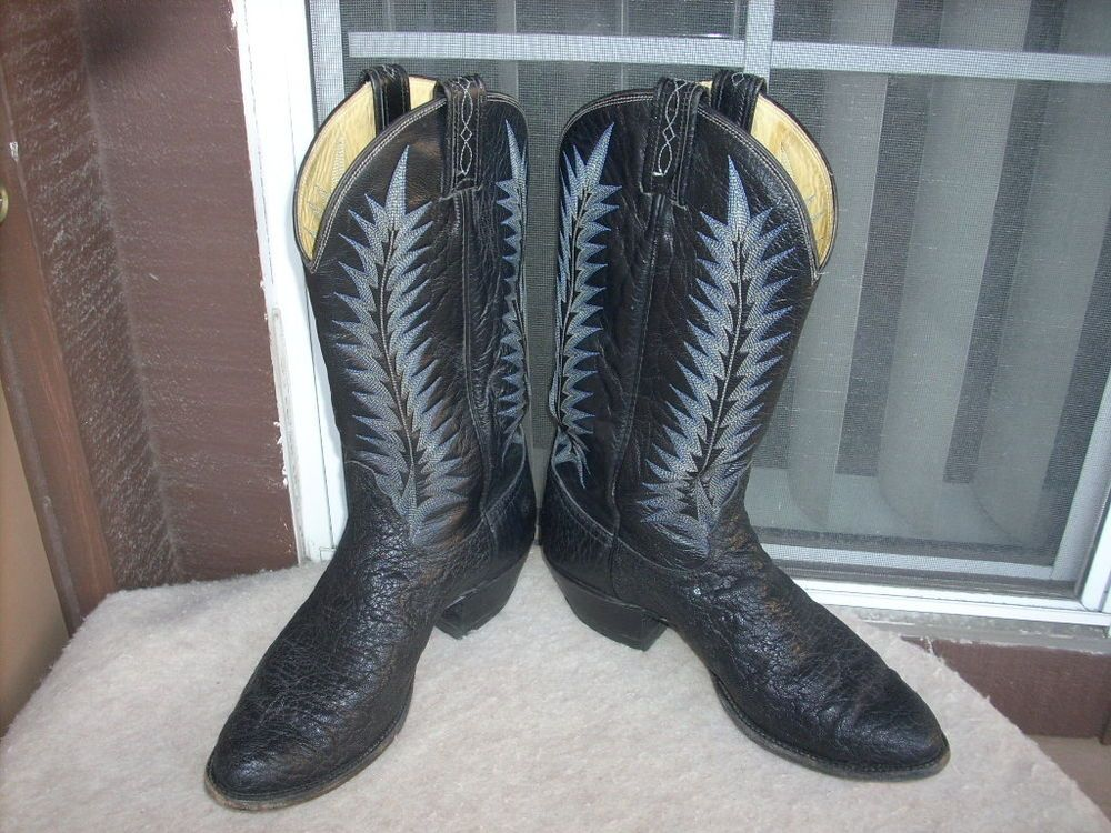 38f0a8d280a Tony Lama Cowboy Elephant skin Men boots 9.5 D Black 8612 USA ...