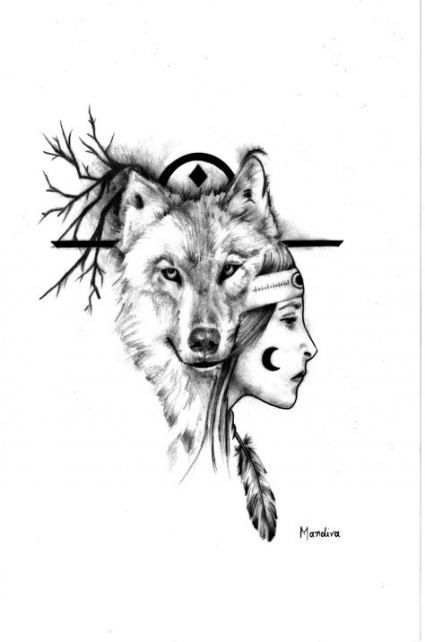 61 Ideas For Tattoo Wolf Girl Drawing Native American Wolf Girl Tattoos Native American Wolf Tattoo Native American Tattoos