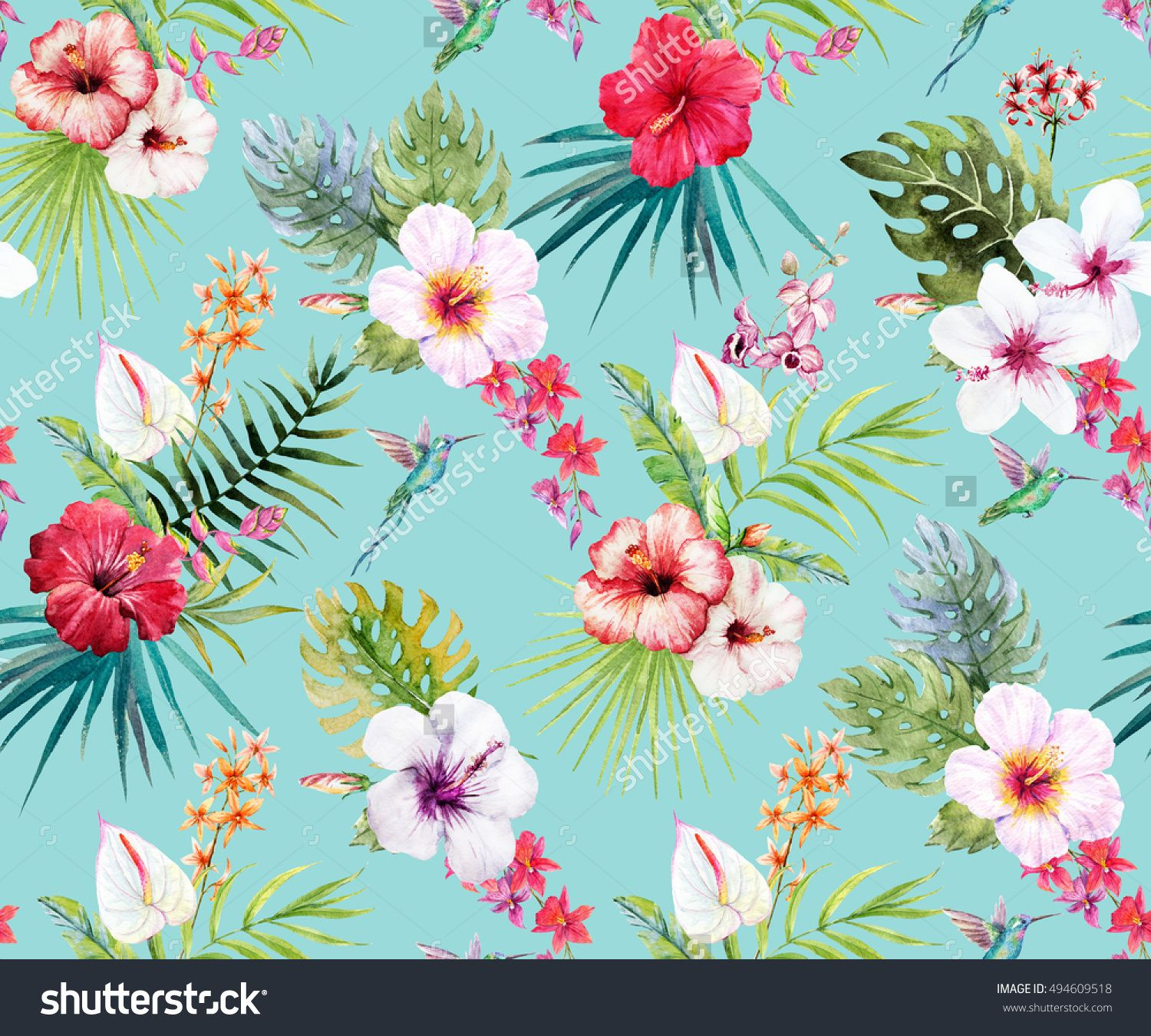 Watercolor Tropical Flower Pattern Hibiscus Flowers Palm Leaves