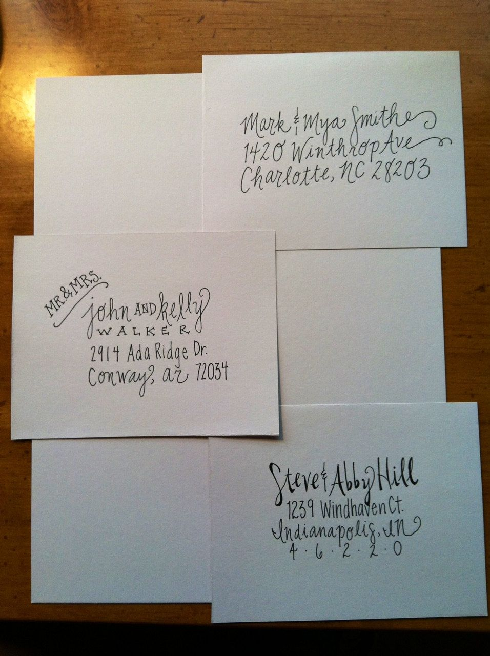 how to address wedding invites%0A Handwritten Addressed Envelopes