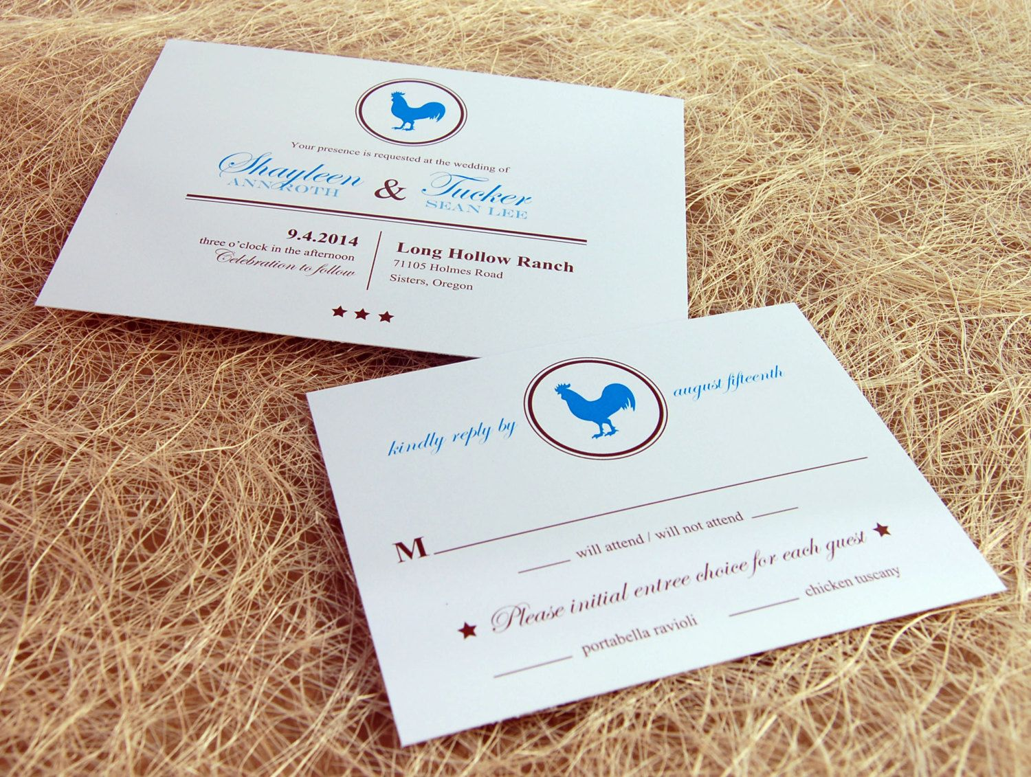 e wedding invitation for friends%0A Rooster Wedding Invitations by paperpieinvitations on Etsy