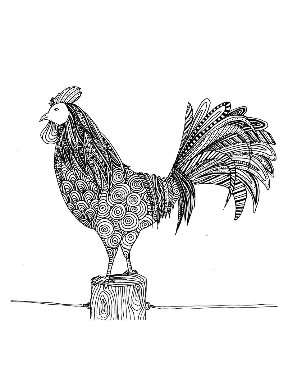 Coloriage de coq dessiner par chocobo coloriage d - Coq a dessiner ...