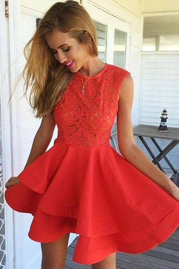 fdc8d642bc6 A-Line Jewel Short Red Satin Homecoming Dress with Lace Ruffles -Pgmdress