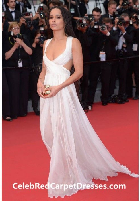 9c5d11a373 Zoe Kravitz White Cut-out Chiffon Dress 2015 Cannes Film Festival ...