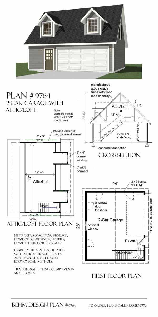 9761 28 x 24 make into a one car garage with one dormer room – 28 X 24 Garage Plans