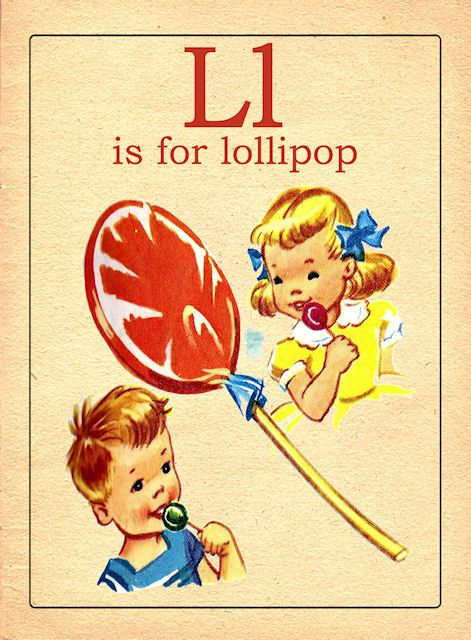 The Letter L Vintage Alphabet Flash Card