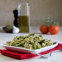 Kale, asparagus and chickpea pesto. Fresh chickpeas make this dish creamy and vegan.