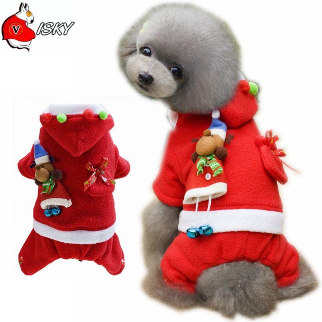 Visky Pet Dog Christmas Costume Dog Santa Dress Cat Winter Coat
