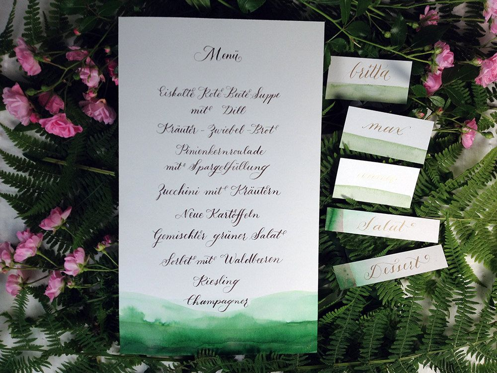 Wedding Menu and place cards in Digital