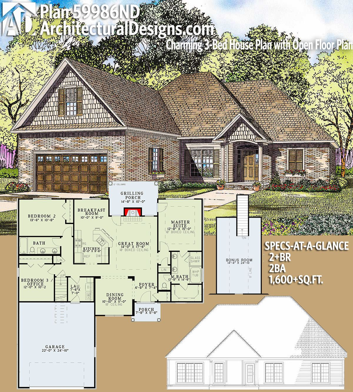Plan 59986nd Charming 3 Bed House Plan With Open Floor Plan House Plans Dream House Plans Architectural Design House Plans