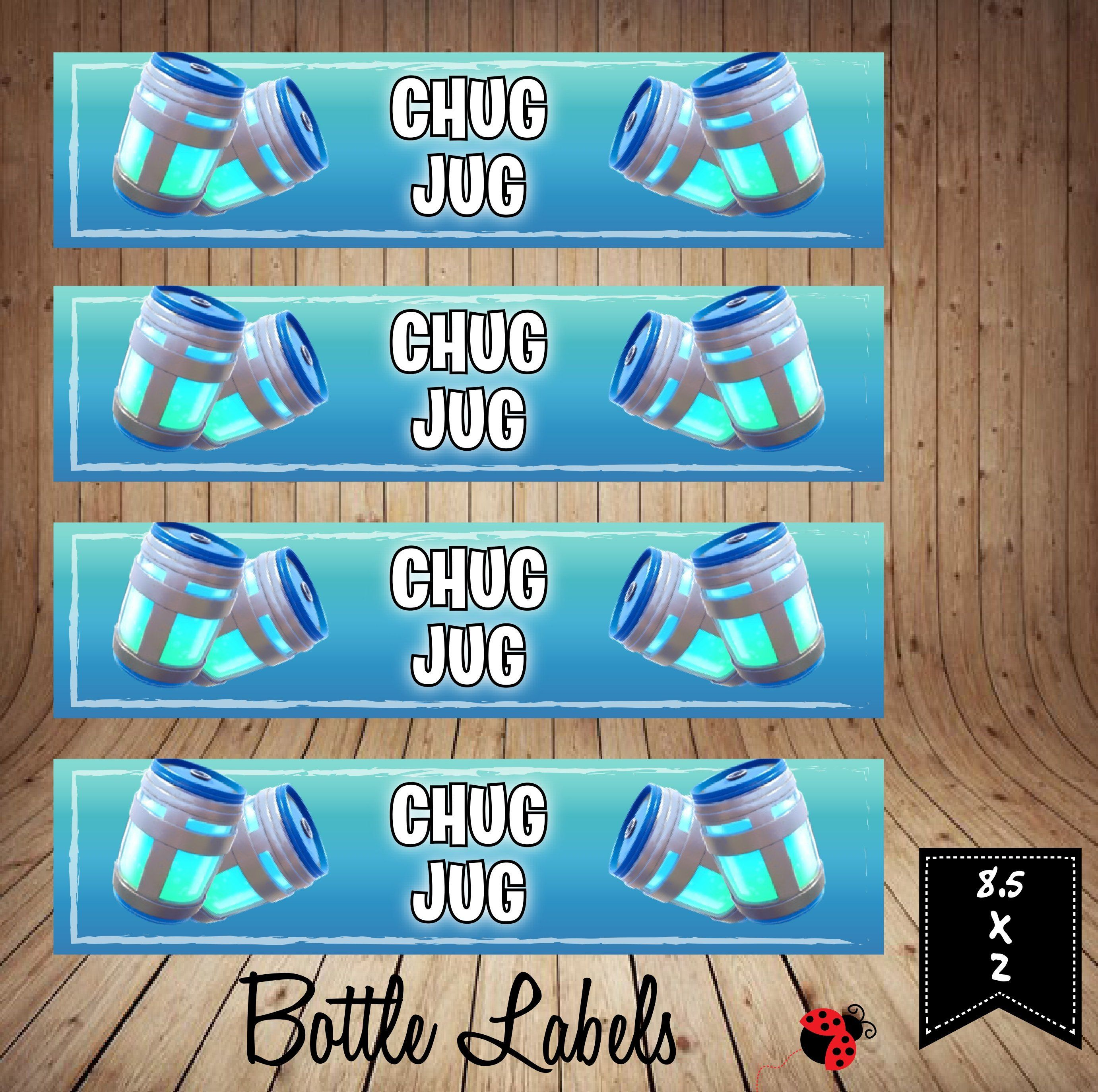 Instant Download Printable Fort Game Chug Jug Inspired Water Etsy Labels Printables Free Kids Party Themes Birthday Invitations Diy