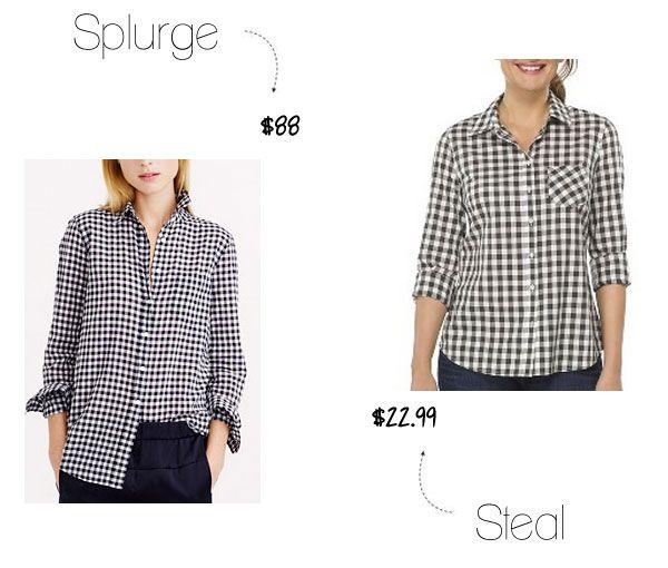 Splurge vs. Steal: J.Crew Check Shirt