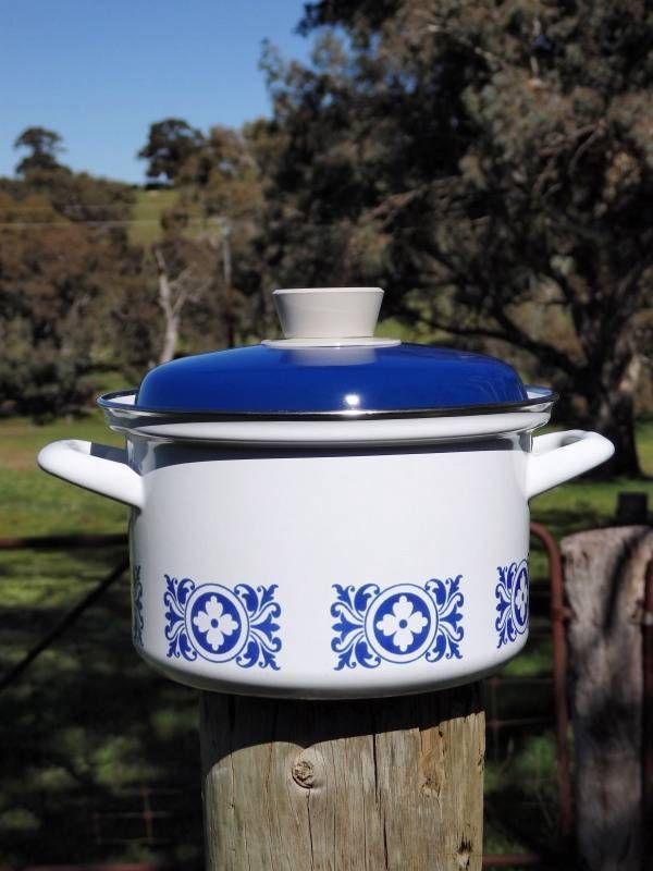 Retro 60s 70s Vintage White Blue Enamel Pot 1750ml Saucepan Scandinavian Design Nordic Design Cookware And Bakeware Kitchen Cookware