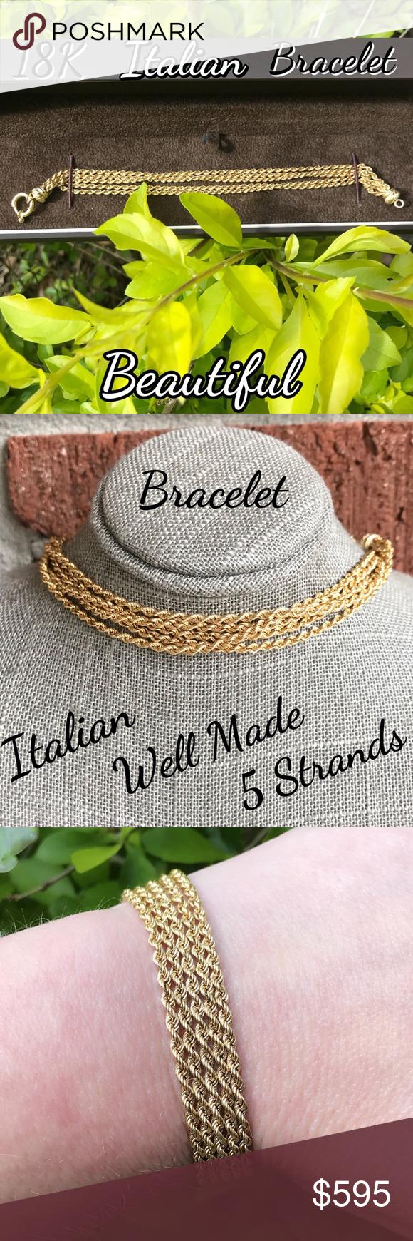 K gold designer italian stranded rope bracelet diamond cuts