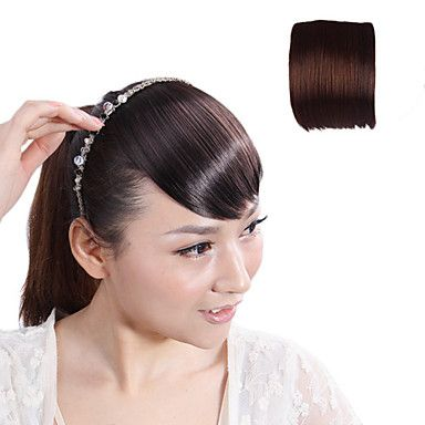 High Quality Synthetic Japanese Kanekalon Fiber Dark Brown Clip In Bangs