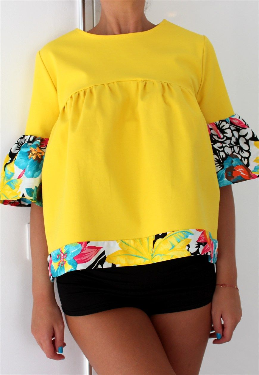 NEW SS Yellow Maxi Top, Ruffle top, Ruffle blouse, Cotton to | Cherry Blossoms Dress | ASOS Marketplace