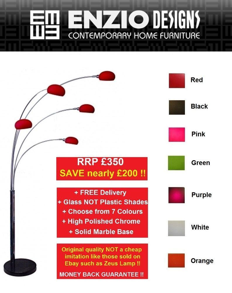 Arc 5 Five Multi Arm Lounge Floor Lamp Glass Shades - 7 Colours ...