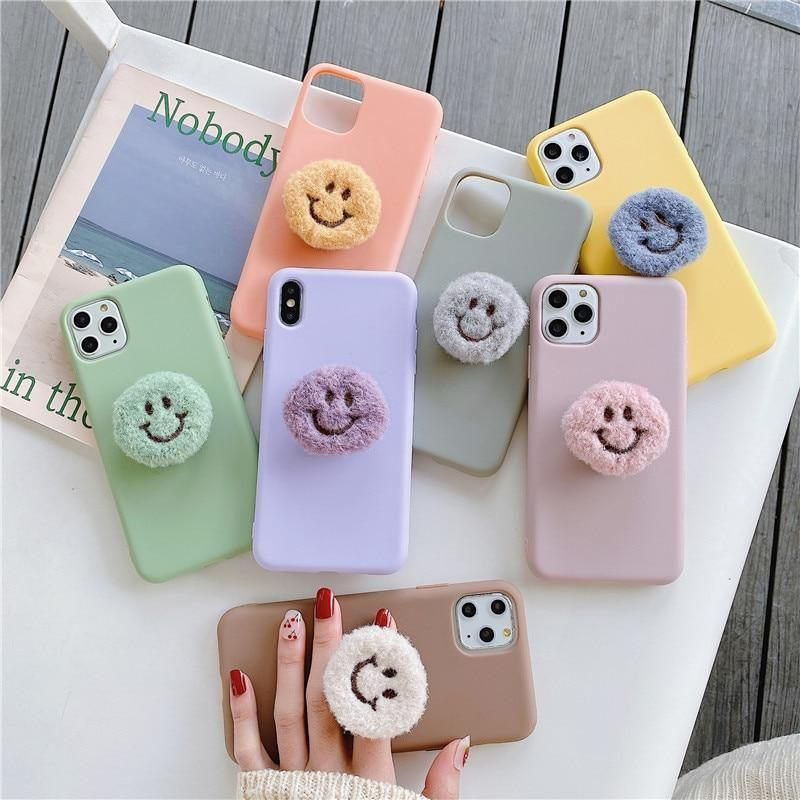 3D Smiley Holder and Soft Silicone Case for iPhone X XR XS 11 Pro Max 6 7 8 plus Samsung S8 S9 S10 20