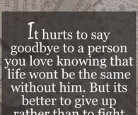 It Hurts To Say Goodbye To A Person You Love True Quotes
