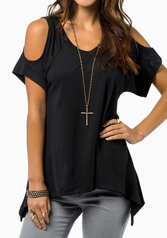 f480a0128b8c1 Black Plain Short Sleeve Wrap Dacron T-Shirt - Tops. Round Neckline Off-the- shoulder ...