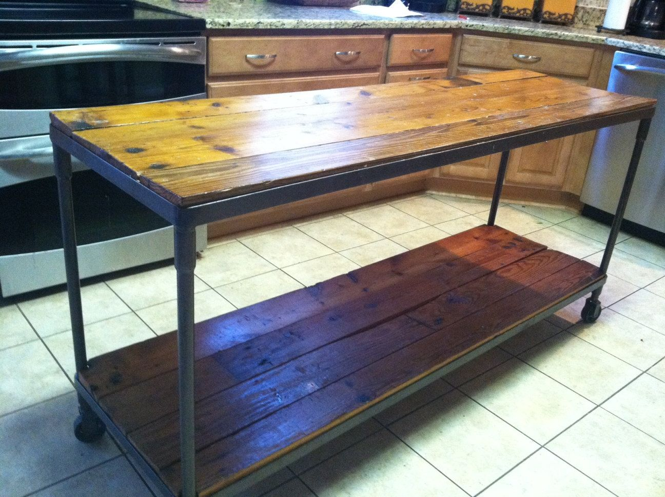 Metal Kitchen Island Tables Reclaimed Wood Metal Kitchen Island By Abhudspeth On Etsy