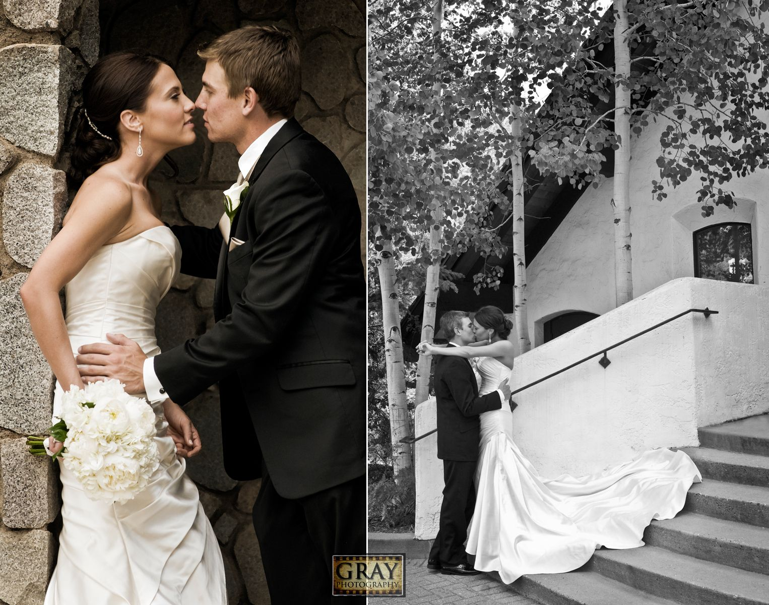 Bride and groom portraits black u white outdoors vail village