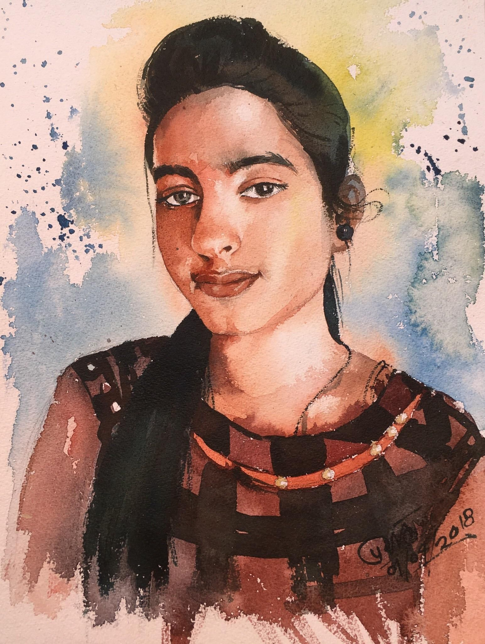 Portrait of a girl Watercolor on paper