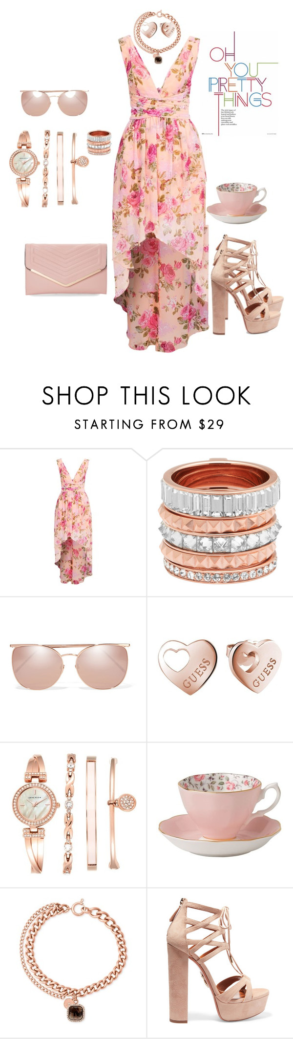 """""""Untitled #207"""" by gorgeouslor ❤ liked on Polyvore featuring Henri Bendel, Linda Farrow, GUESS, Anne Klein, Royal Albert, Michael Kors, Aquazzura and Sasha"""