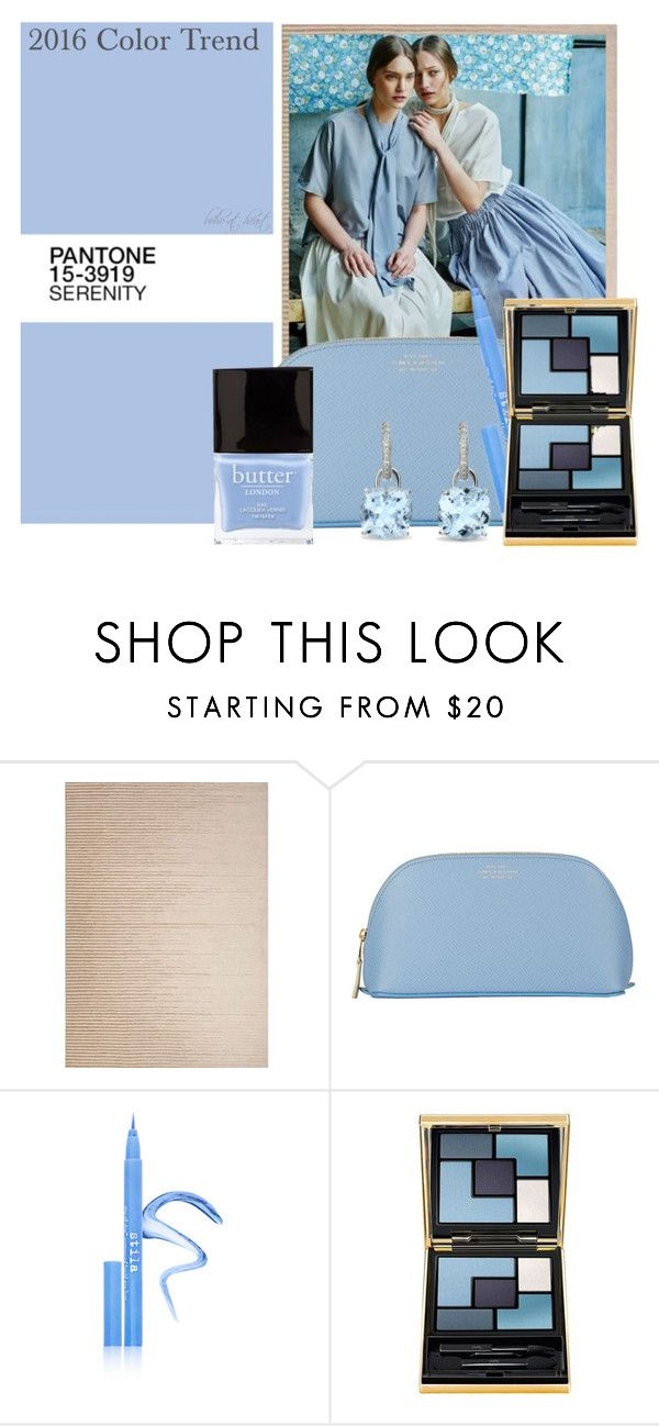 """""""2016 Color Trend: Serenity"""" by boho-at-heart ❤ liked on Polyvore featuring beauty, Jaipur, Butter London, Smythson, Stila and Yves Saint Laurent"""