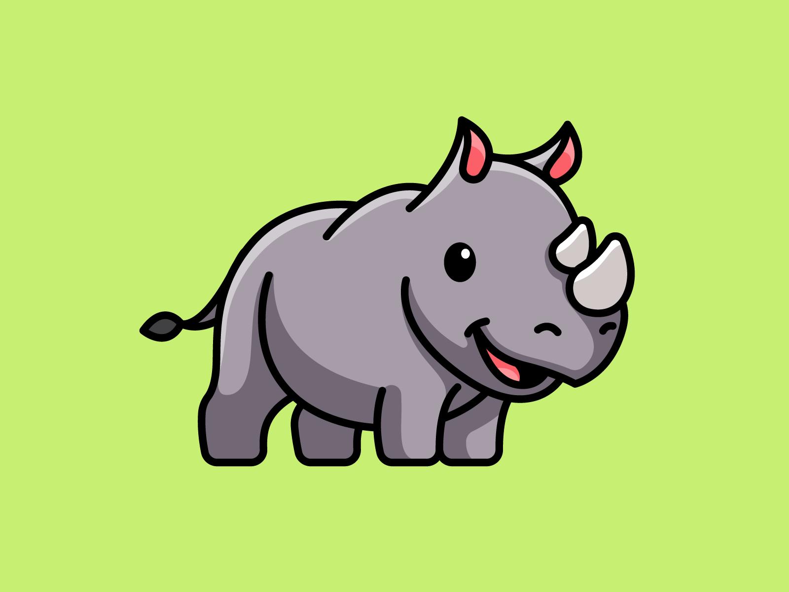 Rhino Rhino Art Rhino Illustration Funny Cartoon Characters
