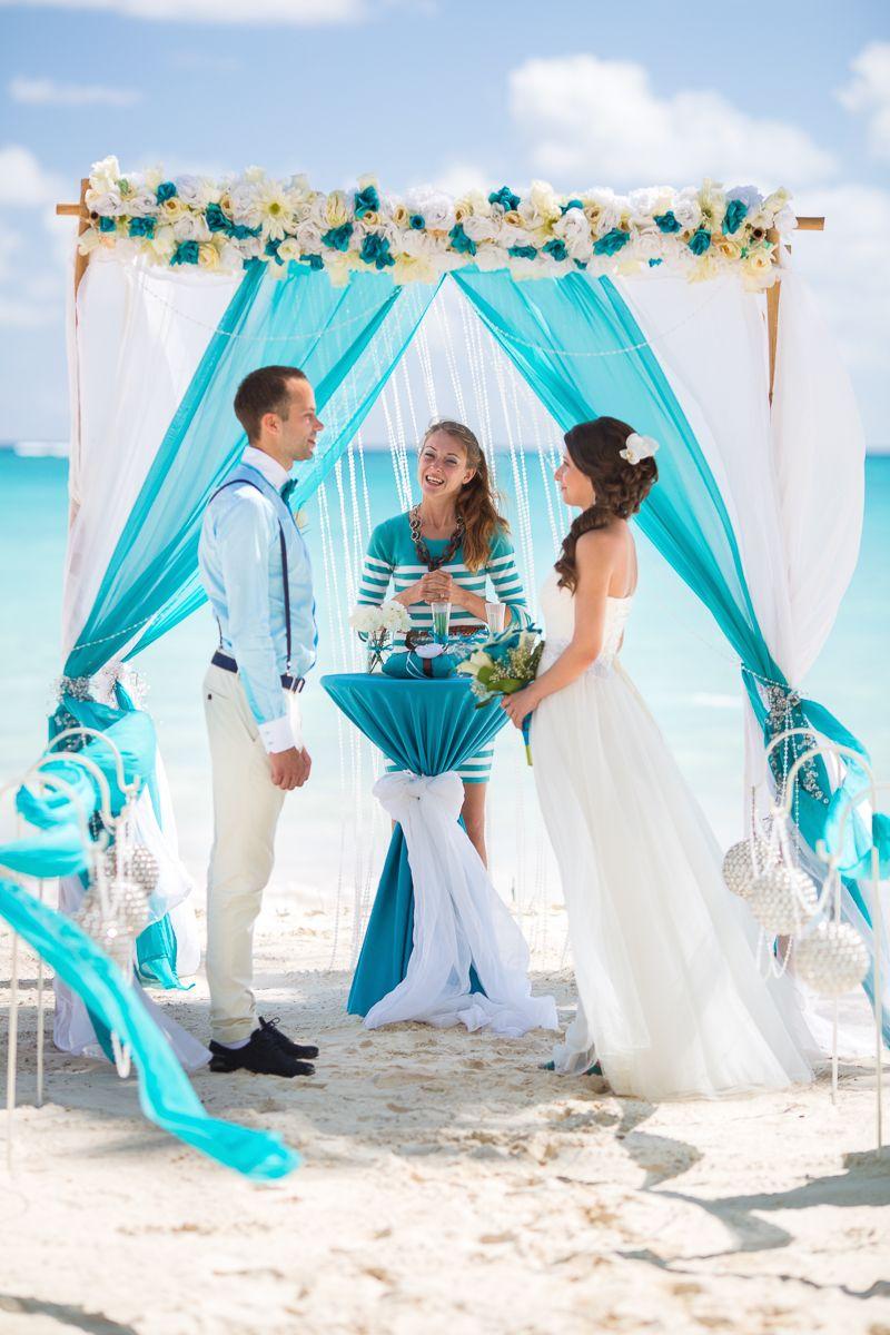 Ocean Blue And White Beach Wedding Val S Weddings Punta Cana Dominican Republic Planner