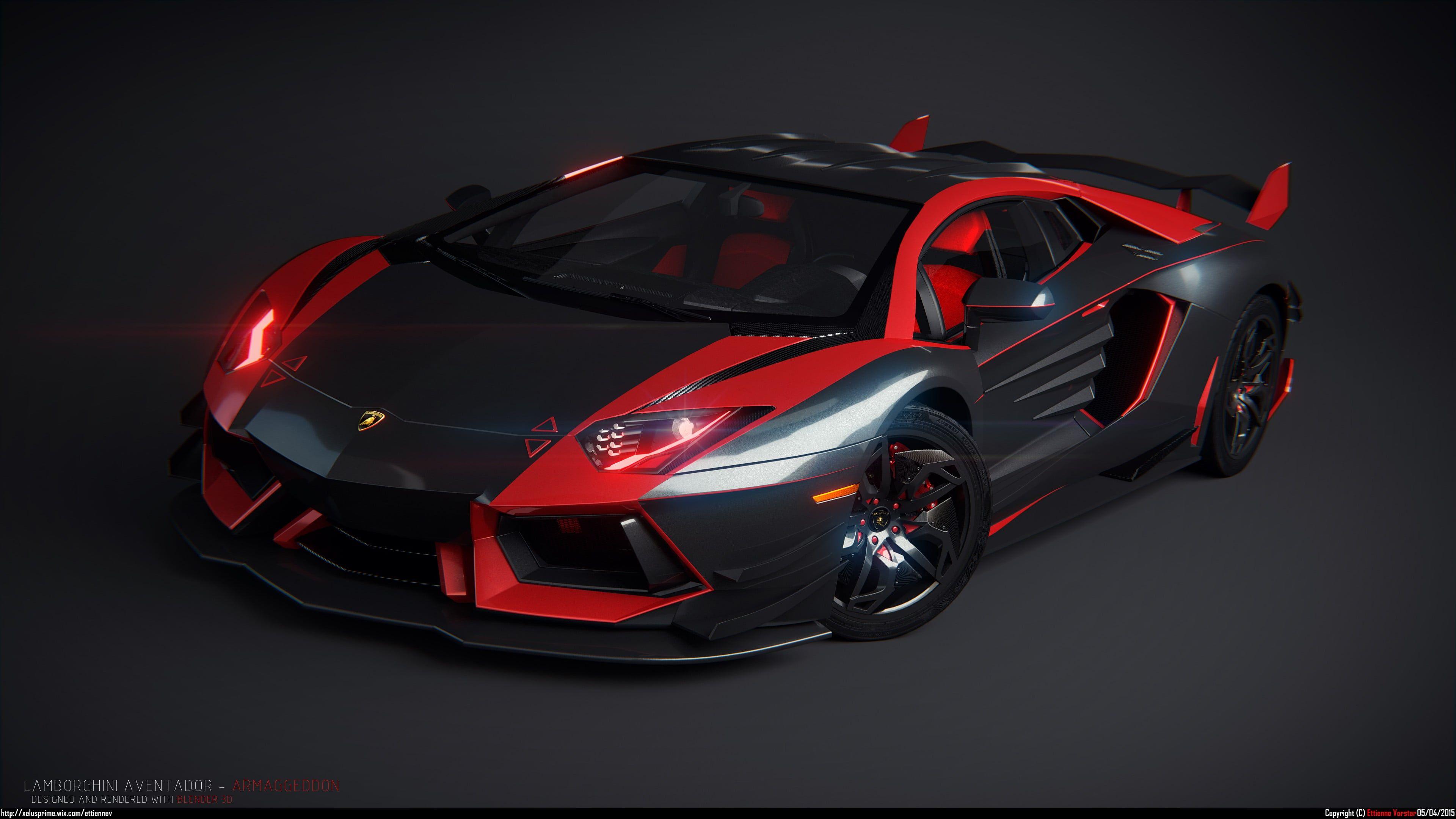 Wallpaper Black And Red Coupe Lamborghini Car Lamborghini Aventador Kendaraan