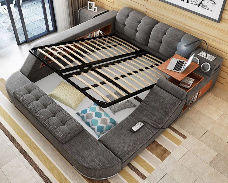 the ultimate bed with integrated massage chair speakers and desk rh pinterest com