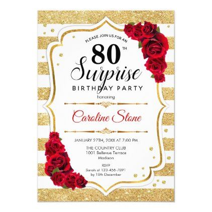 Surprise 80th Birthday - Gold White Red Invitation