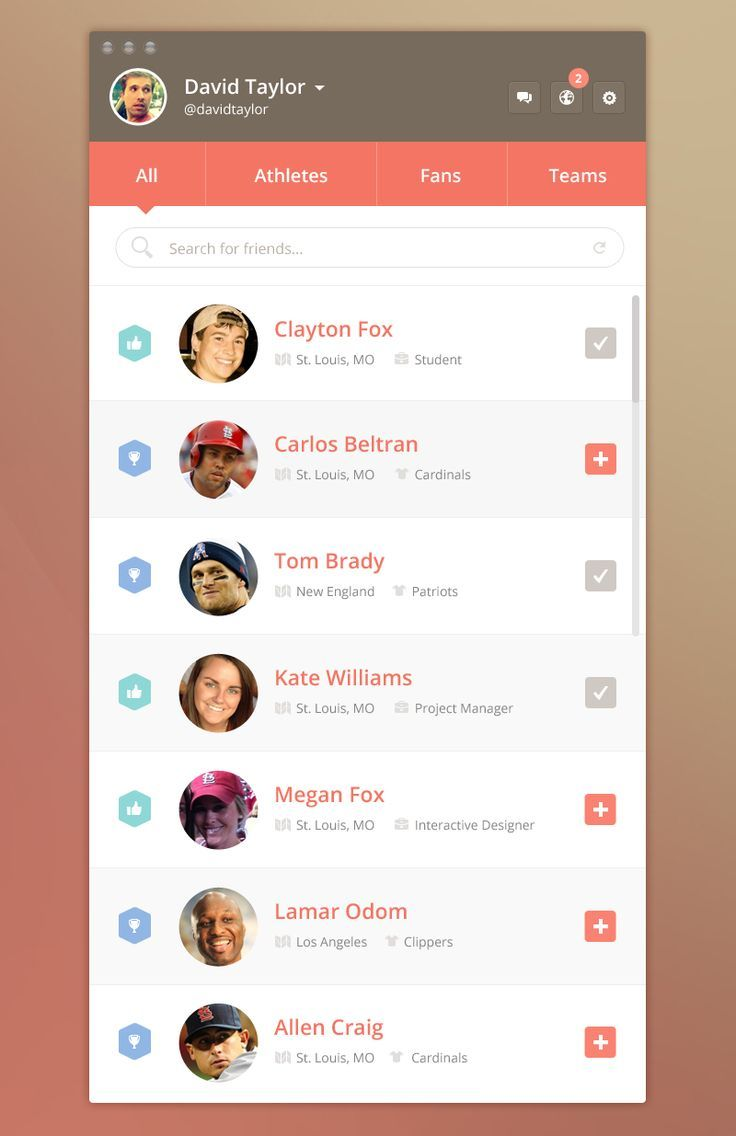 Dribbble social app ui design jpg by ramotion - Ui Kit Fitbit For Iphone By Kerem Suer Search For Friends List Ui Iphone App Ui