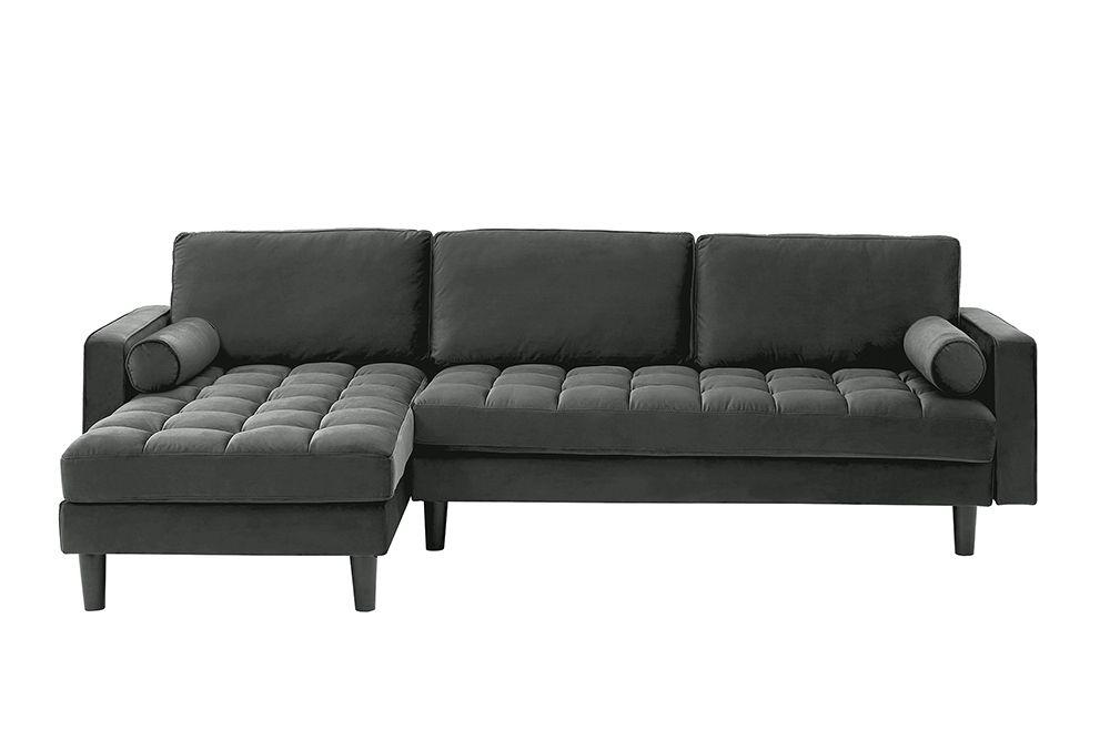 Elegantes Ecksofa Cozy Velvet 260cm Grau Samt Federkern 3er Sofa Riess Ambiente De 3er Sofa Graues Sofa Ecksofa
