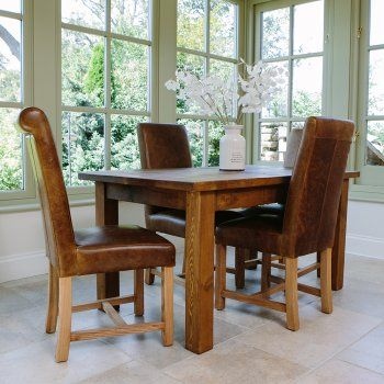 Italian Leather Dining Chairs With Our Rustic Chunky Plank Dining Table  Www.curiosityinteriors.co