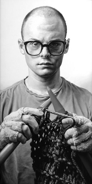 Painting by artist Mark Bush of his friend Daniel knitting.